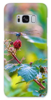 Blue Dragonfly On Berry Galaxy Case