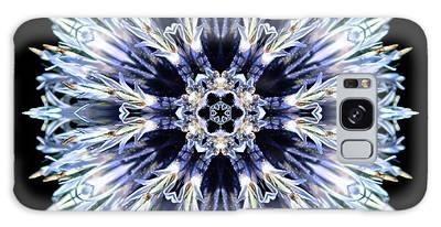 Blue Globe Thistle Flower Mandala Galaxy Case