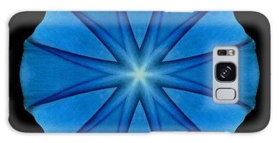 Blue Morning Glory Flower Mandala Galaxy Case