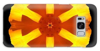 California Poppy Flower Mandala Galaxy Case