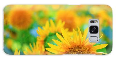 Cheerful And Happy Yellow Sunflower Field In Summer Galaxy Case