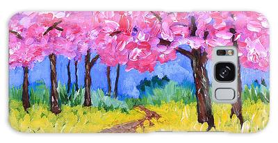 Cherry Trees And Field Mustard After The Rain Acrylic Painting Galaxy Case