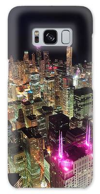 Chicago Night Aerial View Galaxy Case
