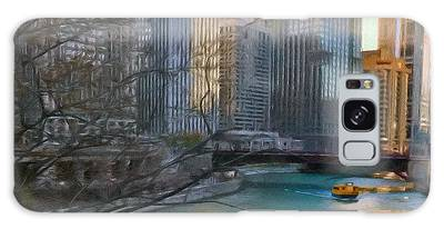Chicago River Sunset Galaxy Case
