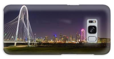 Dallas Skyline And Margaret Hunt Hill Bridge Galaxy Case