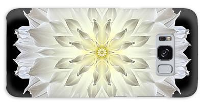 Giant White Dahlia Flower Mandala Galaxy Case