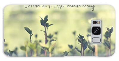 Grow A Little Each Day Inspirational Green Shoots And Leaves Galaxy Case