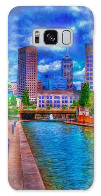 Indianapolis Skyline Canal View Digitally Painted Blue Galaxy Case