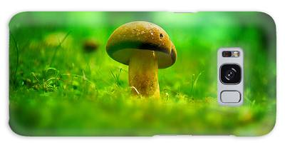 Little Wild Mushroom On A Green Forest Patch Galaxy Case
