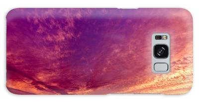 Orange And Purple Clouds Sunset View From The Balcony Galaxy Case