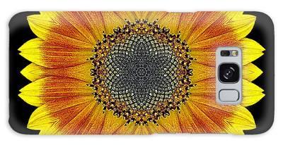 Orange And Yellow Sunflower Flower Mandala Galaxy Case
