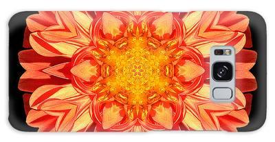 Orange Dahlia Flower Mandala Galaxy Case