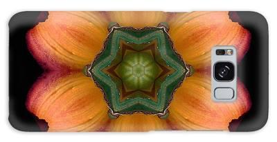 Orange Daylily Flower Mandala Galaxy Case