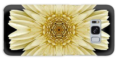 Pale Yellow Gerbera Daisy IIi Flower Mandala Galaxy Case