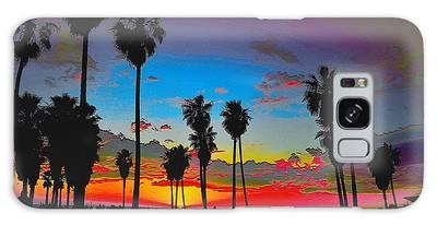 Galaxy Case featuring the digital art Palm Sunset by Visual Artist Frank Bonilla