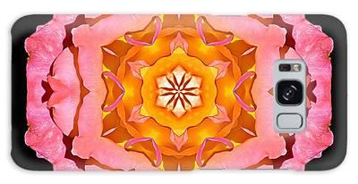 Pink And Orange Rose I Flower Mandala Galaxy Case