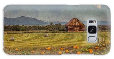 Galaxy Case featuring the photograph Pumpkin Field Moon Shack by Patti Deters