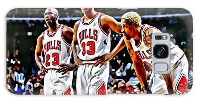 Scottie Pippen With Michael Jordan And Dennis Rodman Galaxy Case