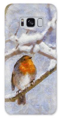 Snowy Robin Galaxy Case