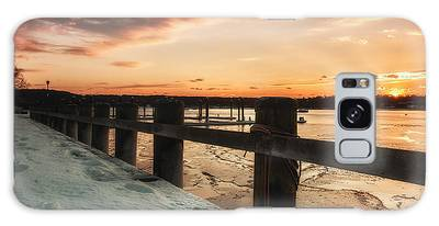 Snowy Sunset In Northport New York Galaxy Case
