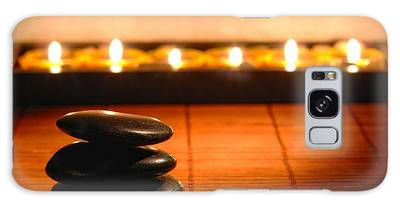 Stone Cairn And Candles For Quiet Meditation Galaxy Case