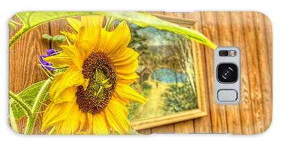 Sunflower On A Fence Galaxy Case