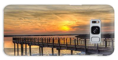 Sunset At The Pier Galaxy Case