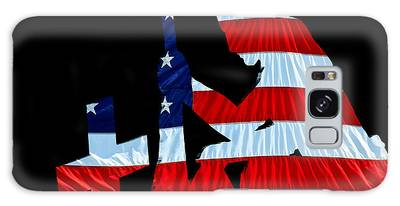 A Time To Remember United States Flag With Kneeling Soldier Silhouette Galaxy Case