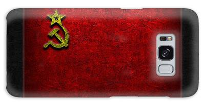Galaxy Case featuring the digital art Ussr Flag Stone Texture by The Learning Curve Photography