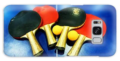Vibrant Ping-pong Bats Table Tennis Paddles Rackets On Blue Galaxy Case