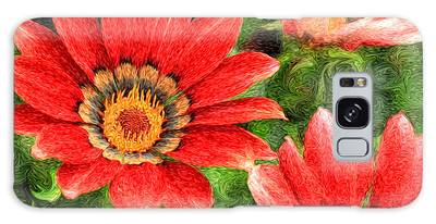 Vivid Orange African Daisy Digital Oil Painting Galaxy Case