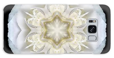 White Begonia II Flower Mandala Galaxy Case