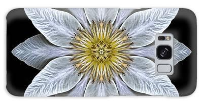 White Clematis Flower Mandala Galaxy Case