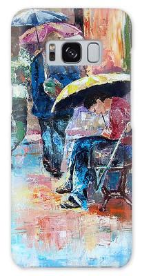 Yellow Umbrella Galaxy Case