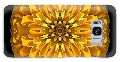 Yellow Zinnia Elegans Flower Mandala Galaxy Case