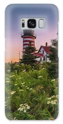 Galaxy Case featuring the photograph Maine West Quoddy Head Light At Sunset by Ranjay Mitra
