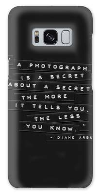 Galaxy Case featuring the photograph A Photograph Is A Secret Embossed Labels by Brian Carson