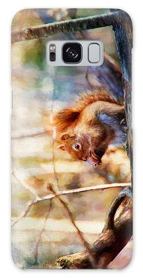 Red Squirrel With Pinecone Galaxy Case