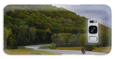 Galaxy Case featuring the photograph Autumn Motorcycle Rider / Red by Patti Deters