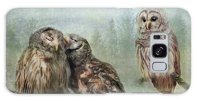 Galaxy Case featuring the photograph Barred Owls - Steal A Kiss by Patti Deters