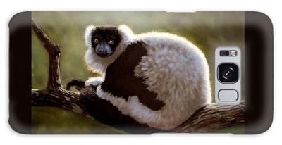 Black And White Ruffed Lemur Galaxy Case