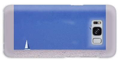 Black And White Sailboat And Seagull Galaxy Case
