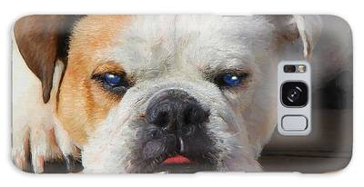 Galaxy Case featuring the painting Blue-eyed English Bulldog - Painting by Ericamaxine Price