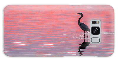 Galaxy Case featuring the photograph Blue Heron - Pink Water by Tom Claud