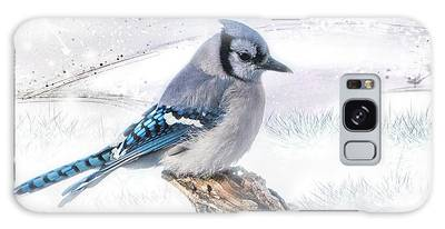 Galaxy Case featuring the photograph Blue Jay Snow by Patti Deters