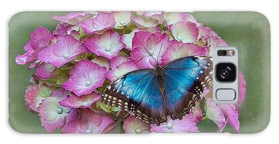 Galaxy Case featuring the photograph Blue Morpho Butterfly On Pink Hydrangea by Patti Deters