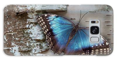 Galaxy Case featuring the photograph Blue Morpho Butterfly On White Birch Bark by Patti Deters