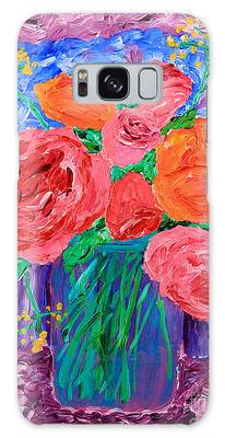 Bouquet Of English Roses In Mason Jar Painting Galaxy Case