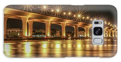 Galaxy Case featuring the photograph Bridge And Golden Water by Tom Claud