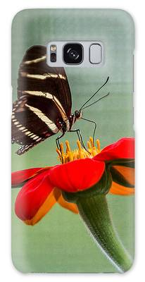 Galaxy Case featuring the photograph Butterfly Zebra Longwing On Zinnia by Patti Deters